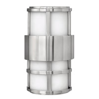 Hinkley 1908SS-GU24 Saturn 1 Light 13 inch Stainless Steel Outdoor Wall in Etched Opal, GU24, Etched Opal Glass