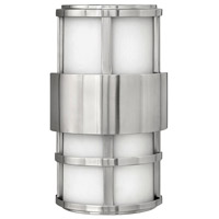 Hinkley 1908SS Saturn 2 Light 13 inch Stainless Steel Outdoor Mini Wall Mount in Etched Opal, Incandescent