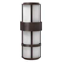 Hinkley 1909MT-GU24 Saturn 1 Light 21 inch Metro Bronze Outdoor Wall in Etched Opal, GU24, Etched Opal Glass