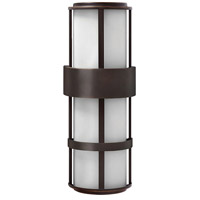 Hinkley 1909MT Saturn 2 Light 21 inch Metro Bronze Outdoor Wall Lantern in Etched Opal, Incandescent