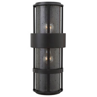 Hinkley 1909SK Saturn 2 Light 21 inch Satin Black Outdoor Wall Mount in Incandescent, Clear Seedy Glass