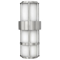 Hinkley 1909SS Saturn 2 Light 21 inch Stainless Steel Outdoor Wall Lantern in Etched Opal, Incandescent