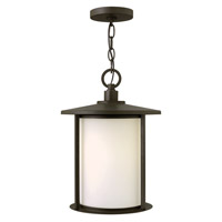 Hinkley Lighting Hudson 1 Light Outdoor Hanging Lantern in Oil Rubbed Bronze with Etched Opal Glass 1912OZ-LED