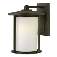 Hudson 1 Light 12 inch Oil Rubbed Bronze Outdoor Wall Lantern in LED, Etched Opal Glass