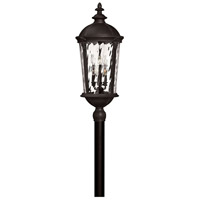 Hinkley 1921BK Windsor 6 Light 35 inch Black Outdoor Post Mount in Clear Water, Incandescent, Post Sold Separately, Clear Water Glass
