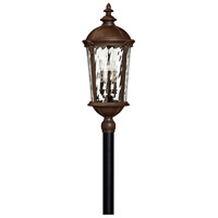 Hinkley 1921RK Windsor 6 Light 35 inch River Rock Post Lantern in Clear Optic Water, Incandescent, Post Sold Separately