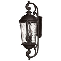 Windsor 6 Light 42 inch Black Outdoor Wall Mount in Incandescent, Clear Water Glass