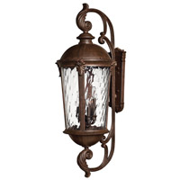 Hinkley 1929RK-LED Windsor 2 Light 42 inch River Rock Outdoor Wall Lantern in Clear Water, LED, Clear Water Glass