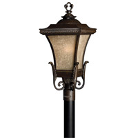 Hinkley 1931RB-GU24 Brynmar 1 Light 27 inch Regency Bronze Post Lantern in GU24, Amber Linen Glass