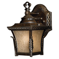Brynmar 1 Light 9 inch Regency Bronze Outdoor Wall in GU24, Amber Linen Glass