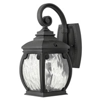 Hinkley 1946MB Forum 1 Light 13 inch Museum Black Outdoor Wall in Incandescent, Seedy Water Glass