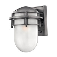 Hinkley 1950HE-GU24 Reef 1 Light 11 inch Hematite Outdoor Wall in Translucent Sandblasted, GU24, Inside Etched Glass