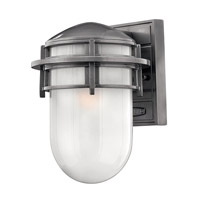 Hinkley 1950HE-LED Reef 1 Light 11 inch Hematite Outdoor Wall Lantern in Inside Etched, LED, Inside Etched Glass