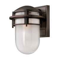 Reef 1 Light 11 inch Victorian Bronze Outdoor Wall Lantern in Inside Etched, LED, Inside Etched Glass