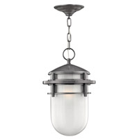 Reef LED 9 inch Hematite Outdoor Hanging Light in Inside Etched, Inside Etched Glass