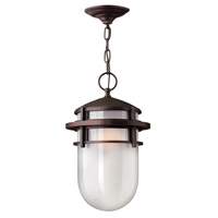 Reef 1 Light 9 inch Victorian Bronze Outdoor Hanging in Translucent Sandblasted, GU24, Inside Etched Glass
