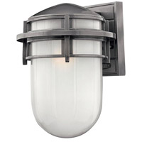 Hinkley 1954HE Reef 1 Light 13 inch Hematite Outdoor Wall Mount in Translucent Sandblasted, Incandescent photo thumbnail