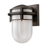 Reef 1 Light 13 inch Victorian Bronze Outdoor Wall in Translucent Sandblasted, GU24, Inside Etched Glass