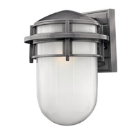 Hinkley Lighting Reef 1 Light Outdoor Wall Lantern in Hematite with Inside Etched Glass 1954HE-LED