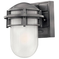 Hinkley 1956HE Reef 1 Light 8 inch Hematite Outdoor Mini Wall Mount in Translucent Sandblasted, Incandescent