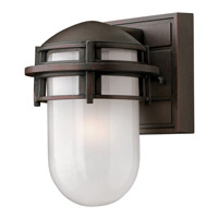 Hinkley 1956VZ-GU24 Reef 1 Light 8 inch Victorian Bronze Outdoor Wall in Translucent Sandblasted, GU24, Inside Etched Glass