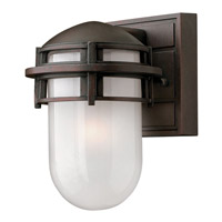 Reef LED 8 inch Victorian Bronze Outdoor Mini Wall Mount in Inside Etched, Inside Etched Glass