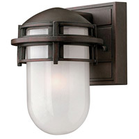 Hinkley 1956VZ Reef 1 Light 8 inch Victorian Bronze Outdoor Mini Wall Mount in Translucent Sandblasted, Incandescent