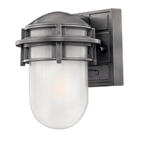 Hinkley 1956HE-LED Reef 1 Light 8 inch Hematite Outdoor Wall Lantern in Inside Etched, LED, Inside Etched Glass