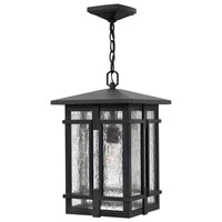 Hinkley 1962MB Tucker 1 Light 11 inch Museum Black Outdoor Hanging Light in Incandescent, Clear Seedy Glass