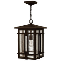 Hinkley 1962OZ Tucker 1 Light 11 inch Oil Rubbed Bronze Outdoor Hanging Light, Clear Seedy Glass