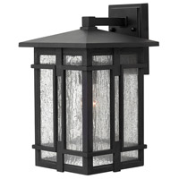 Hinkley 1964MB Tucker 1 Light 15 inch Museum Black Outdoor Wall Mount, Clear Seedy Glass
