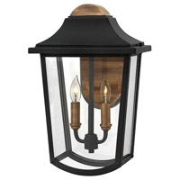 Hinkley 1974BK Burton 2 Light 16 inch Black Outdoor Wall Lantern, Clear Beveled Glass