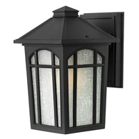 Hinkley 1980BK-GU24 Cedar Hill 1 Light 9 inch Black Outdoor Wall in GU24, Linen Glass photo thumbnail