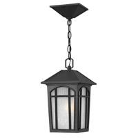 Hinkley 1982BK-GU24 Cedar Hill 1 Light 8 inch Black Outdoor Hanging in GU24, Linen Glass