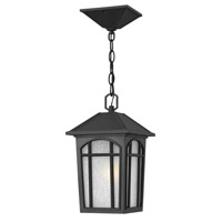 Hinkley 1982BK-LED Cedar Hill LED 8 inch Black Outdoor Hanging Lantern, Linen Glass