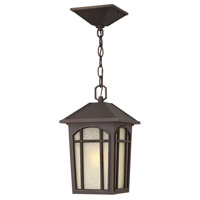 Hinkley 1982OZ-GU24 Cedar Hill 1 Light 8 inch Oil Rubbed Bronze Outdoor Hanging in GU24, Linen Glass