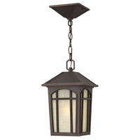 Hinkley 1982OZ-LED Cedar Hill LED 8 inch Oil Rubbed Bronze Outdoor Hanging Lantern, Linen Glass
