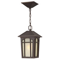 Hinkley 1982OZ Cedar Hill 1 Light 8 inch Oil Rubbed Bronze Outdoor Hanging Lantern in Incandescent, Standard, Linen Glass