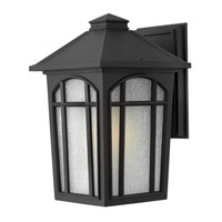 Hinkley 1984BK-GU24 Cedar Hill 1 Light 13 inch Black Outdoor Wall in GU24, Linen Glass photo thumbnail