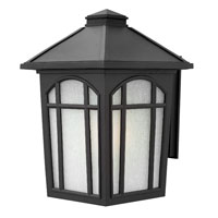 Hinkley 1985BK-GU24 Cedar Hill 1 Light 17 inch Black Outdoor Wall in White Linen, GU24, Linen Glass