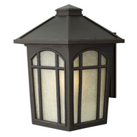 Hinkley 1985OZ-GU24 Cedar Hill 1 Light 17 inch Oil Rubbed Bronze Outdoor Wall in Amber Linen, GU24, Linen Glass