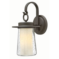 Hinkley 2010OZ-GU24 Riley 1 Light 18 inch Oil Rubbed Bronze Outdoor Wall in GU24, Seedy Outer/Etched Opal Inner Glass