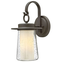 Riley 1 Light 18 inch Oil Rubbed Bronze Outdoor Wall Mount in Incandescent, Clear Seedy and Etched Opal, Seedy Outer/Etched Opal Inner Glass