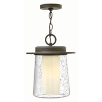 Riley 1 Light 11 inch Oil Rubbed Bronze Outdoor Hanging Lantern in GU24, Seedy Outer/Etched Opal Inner Glass
