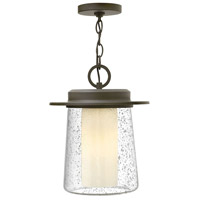 Riley 1 Light 11 inch Oil Rubbed Bronze Outdoor Hanging Lantern in Incandescent, Seedy Outer/Etched Opal Inner Glass