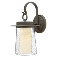 Riley 1 Light 18 inch Oil Rubbed Bronze Outdoor Wall in Incandescent, Seedy Outer/Etched Opal Inner Glass