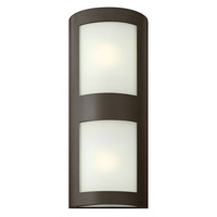 Hinkley Lighting Solara 2 Light Outdoor Wall Lantern in Bronze with Inside White Etched Glass 2025BZ-LED