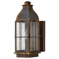 Hinkley 2040SN Bingham 1 Light 13 inch Sienna Outdoor Wall Mount in Candelabra, Clear Seedy Glass