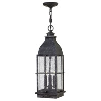 Hinkley 2042GS Bingham 3 Light 8 inch Greystone Outdoor Hanging Light in Candelabra, Clear Seedy Glass