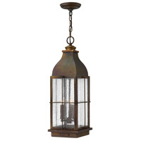 Hinkley 2042SN Bingham 3 Light 8 inch Sienna Outdoor Hanging Lantern, Clear Seedy Glass